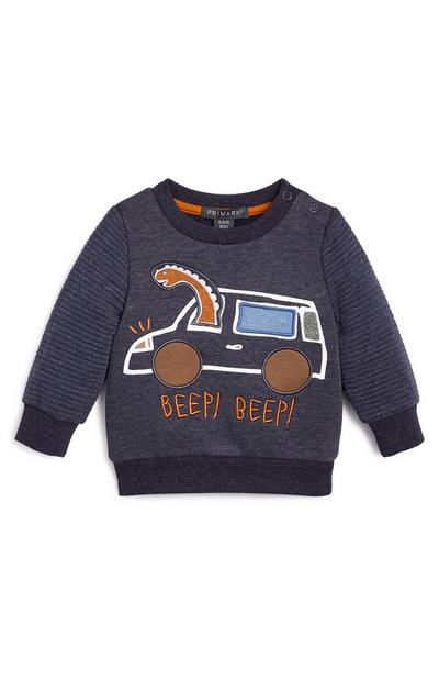 Baby Boy Navy Novelty Dinosaur Car Sweater