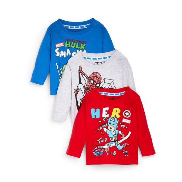 Lot de 3 t-shirts à manches longues Avengers bébé garçon