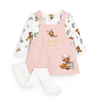Dekliški tridelni komplet z obleko na naramnice iz rebrastega žameta za dojenčke Disney Bambi