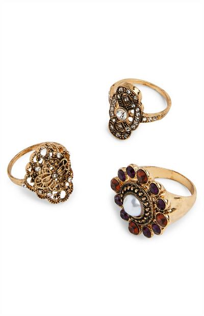 Large Goldtone Cocktail Rings 3 Pack