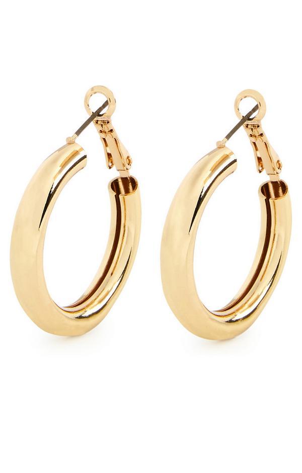 Goldtone Chunky Midi Hoop Earrings