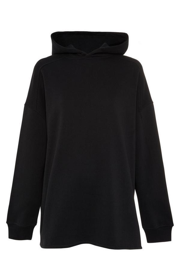 Schwarzer Kapuzenpullover im Oversized-Look mit Seitenschlitzen