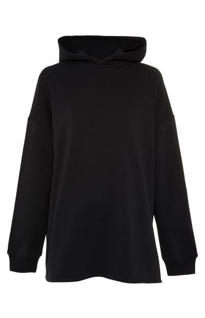 Black Oversized Side Split Hoodie