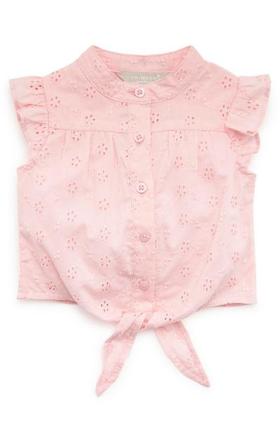 Baby Girl Tie Front Pink Shiffley Blouse