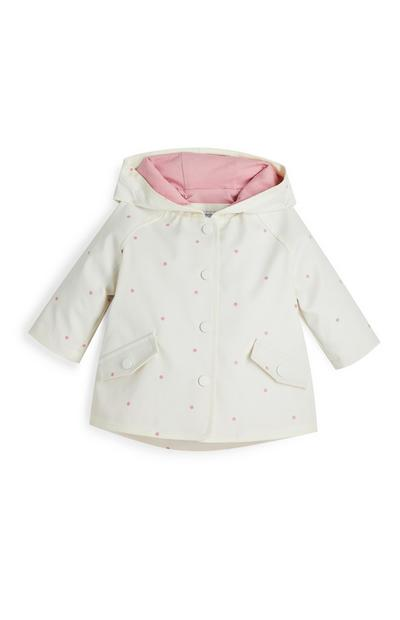 Baby Girl Cream Faux PU Leather Polka Dot Coat