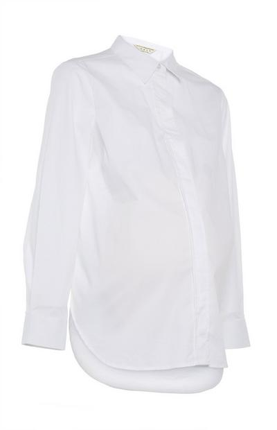 White Maternity Poplin Shirt