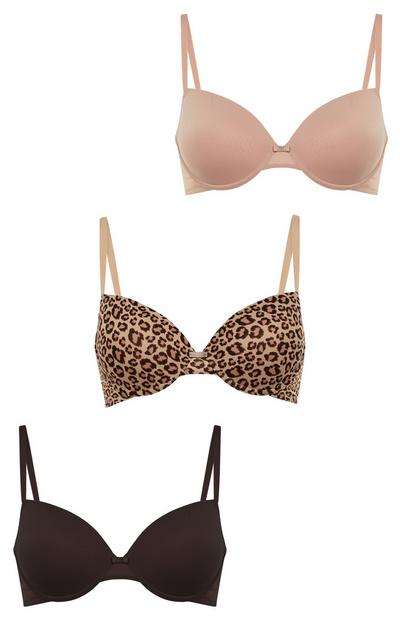 Mixed Animal Print T-Shirt Bras In Sizes A-D 3 Pack