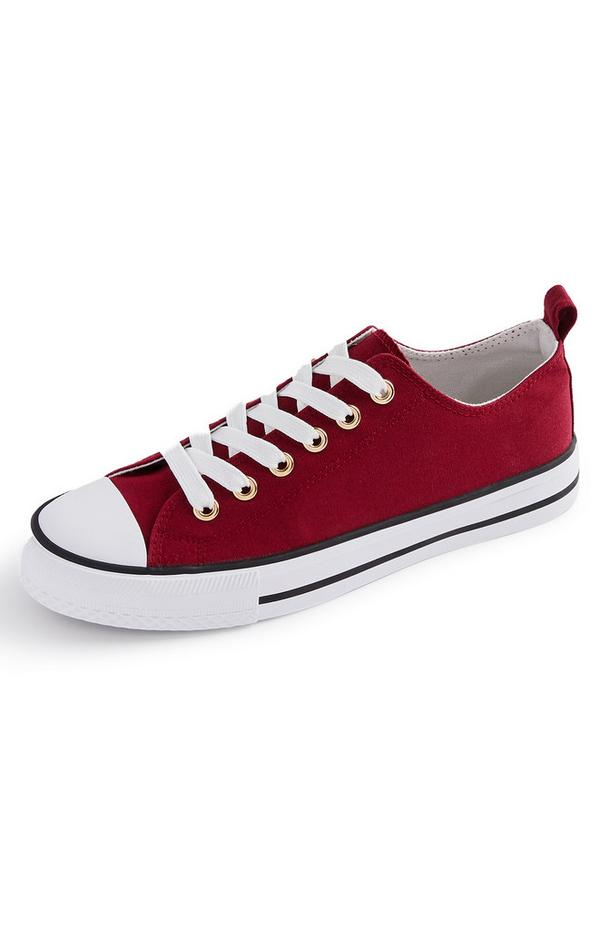 Burgundy Classic Canvas Trainers