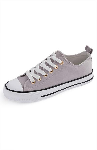 Pale Grey Classic Canvas Trainers