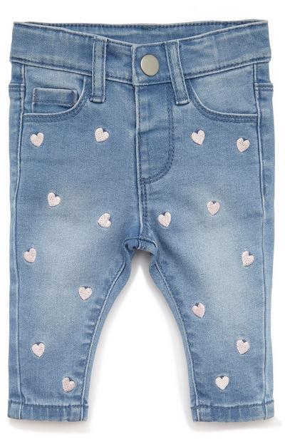Baby Girl Heart Embellished Denim Jeans