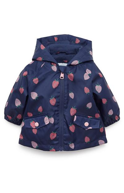 Baby Girl Jersey Lined Navy Strawberry Raincoat