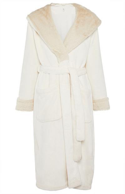 Crèmekleurige luxe badjas met sjaalkraag