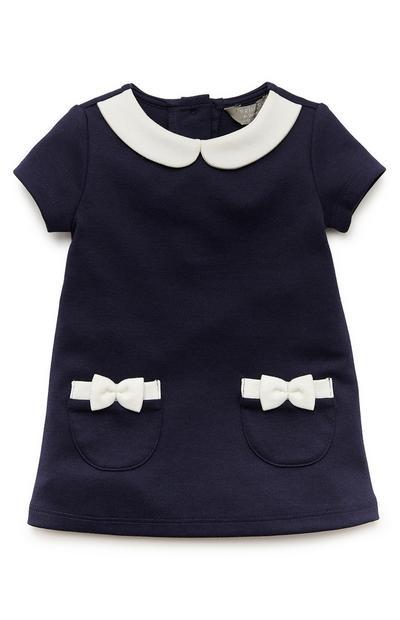 Mornarsko modra dekliška obleka za dojenčke