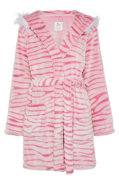 Pink Tiger Stripe Luxury Embossed Robe