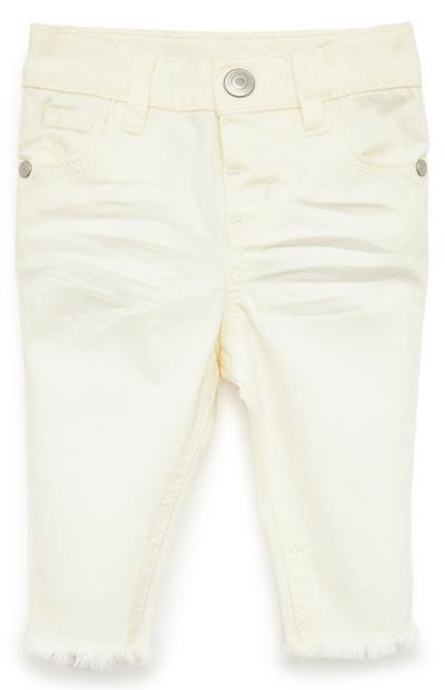 Baby Girl Cream Solid Twill Trousers