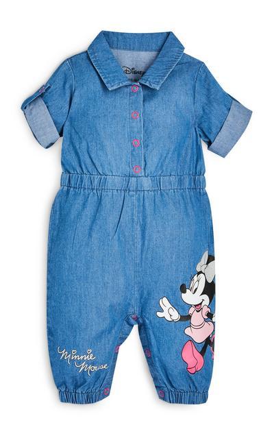 Tuta intera in denim Disney Minnie da bimba