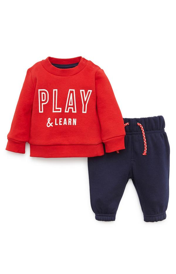 Baby Boy Red Crew Neck Sweatshirt And Navy Joggers Set