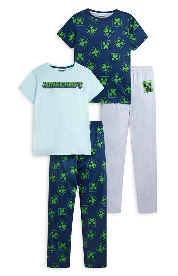 Pack de 2 pijamas azul marino de Minecraft para niño mayor
