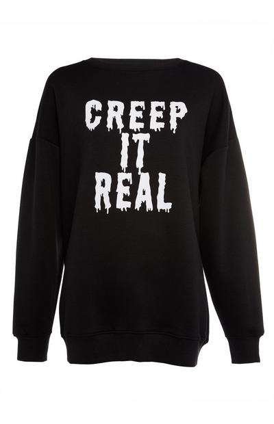 Black Creep It Real Slogan Halloween Sweater