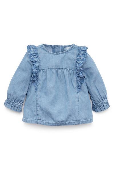 Blusa vaquera azul con fruncidos para bebé niña