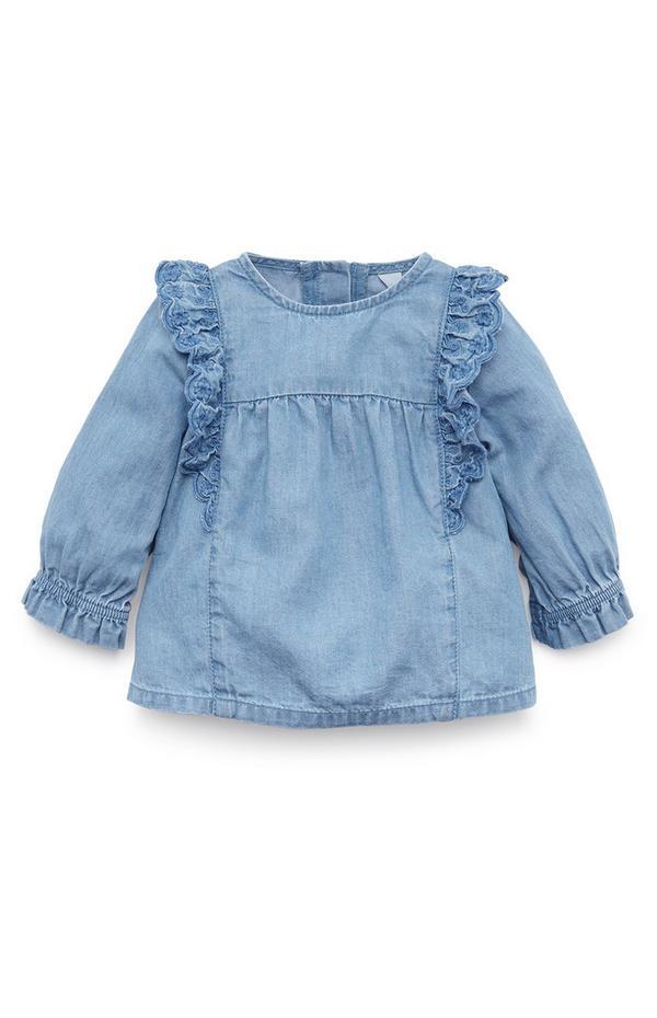 Baby Girl Blue Shirred Denim Blouse