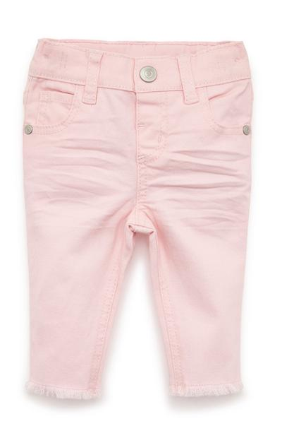 Svetlo rožnate dekliške enobarvne hlače iz kepra za dojenčke