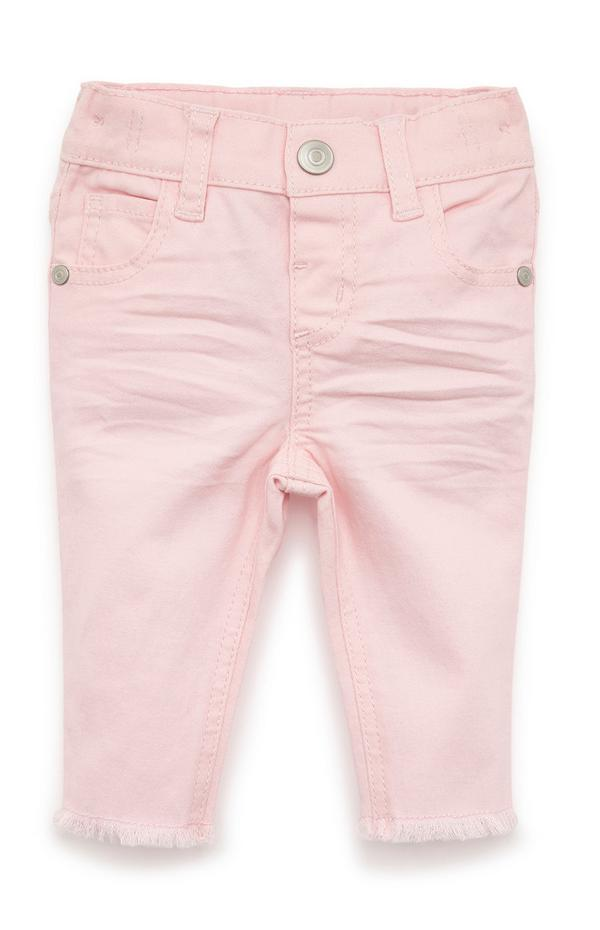 Baby Girl Light Pink Twill Pants