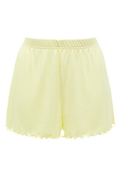 Shorts da notte giallo limone con orlo arricciato