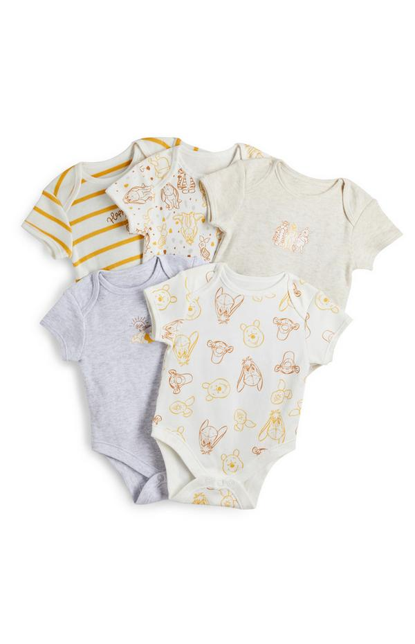 Newborn Baby Winnie The Pooh Short Sleeve Bodysuit 5 Pack