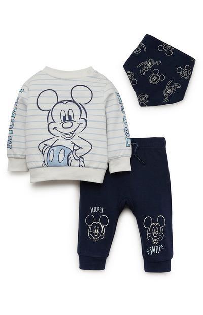 Conjunto de 3 piezas de sudadera con cuello redondo, pantalón de chándal y babero Disney Mickey Mouse para recién nacido