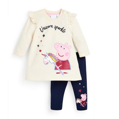 Baby Girl Peppa Pig Yellow Dress And Leggings Set