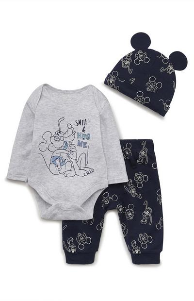 3 peças body/leggings/gorro Disney Mickey Mouse recém-nascido