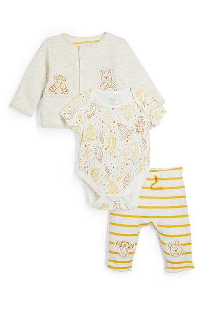 Newborn Baby Yellow Winnie The Pooh Bodysuit Leggings And Jacket 3 Piece Set
