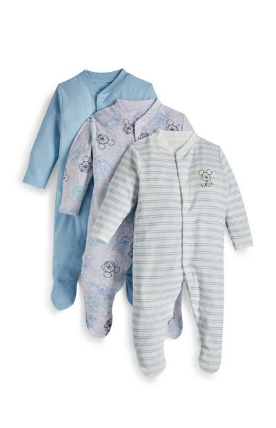 Newborn Baby Boy Disney Mickey Mouse Long Sleeve Sleepsuit 3 Pack