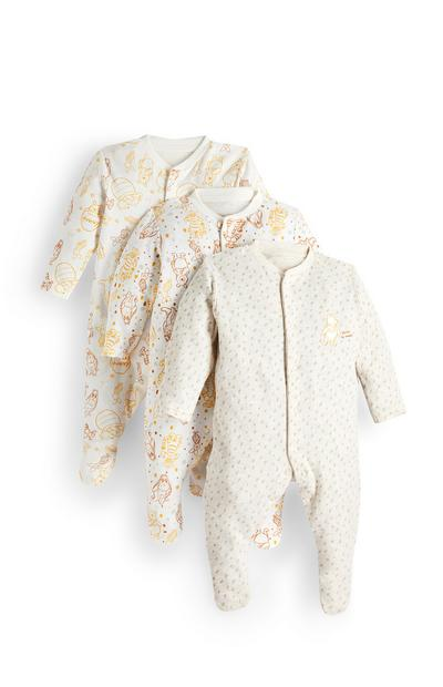 Newborn Baby Winnie The Pooh Long Sleeve Sleepsuit 3 Pack