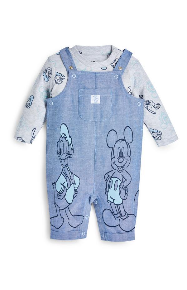 Conjunto jardineiras Disney Mickey Mouse recém-nascido