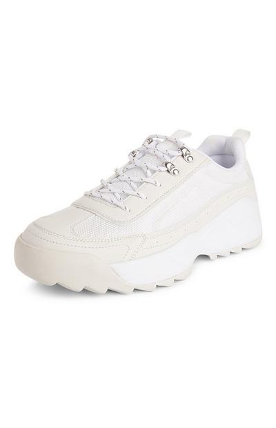 White Cleated Chunky Hiker Trainers