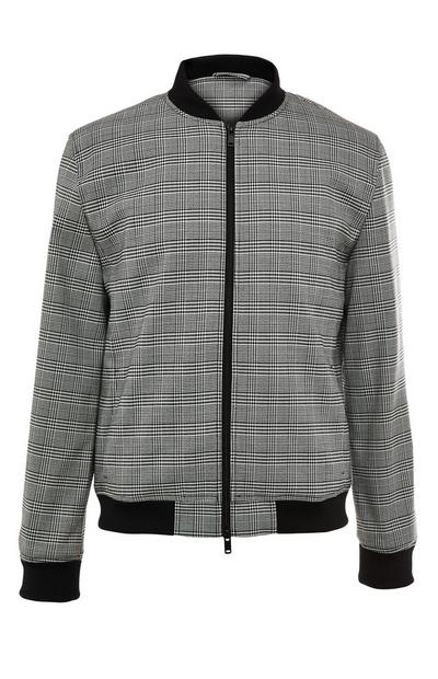 Premium Modern Grey Check Bomber Jacket