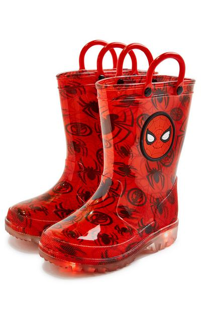Younger Boy Red Spiderman Rain Boots