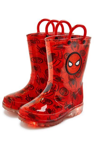 Rdeči dežni škornji Spiderman za mlajše fante
