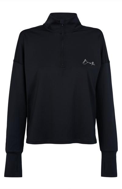 Black Activate Half Zip Sweater
