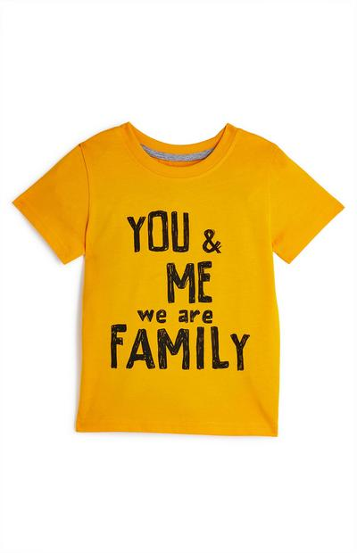 T-shirt gialla con stampa You And Me Family da bimbo