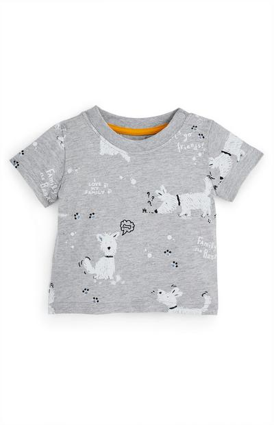 Baby Boy Grey Family Dog T-Shirt