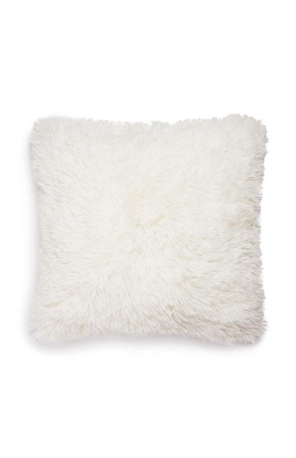 Weißes, quadratisches Pompon-Kissen