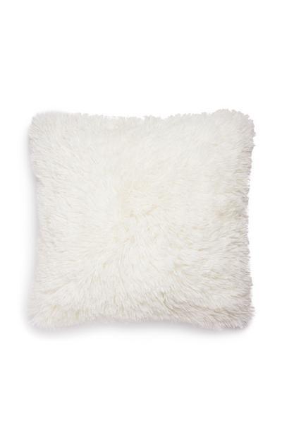 Coussin blanc carré à pompons