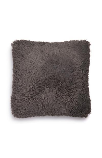 Coussin gris foncé carré à pompons