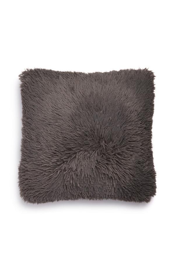 Dark Grey Pom Pom Square Cushion
