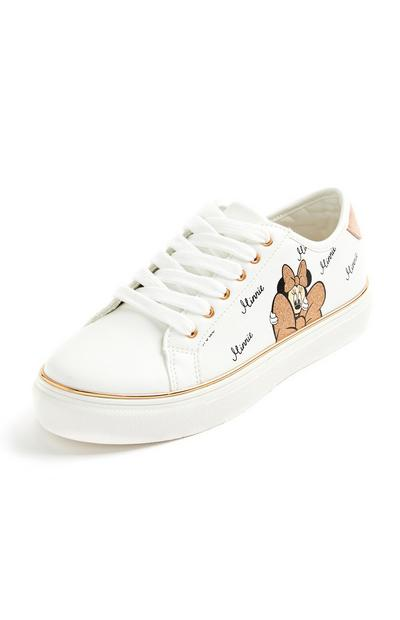 Witte sneakers met metallic Minnie Mouse