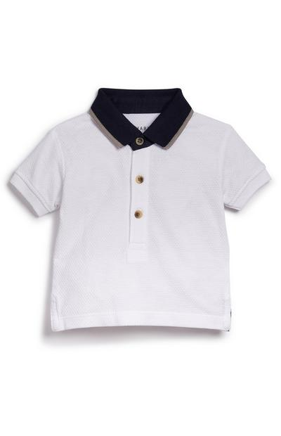 Baby Boy White Smart Polo Neck T-Shirt