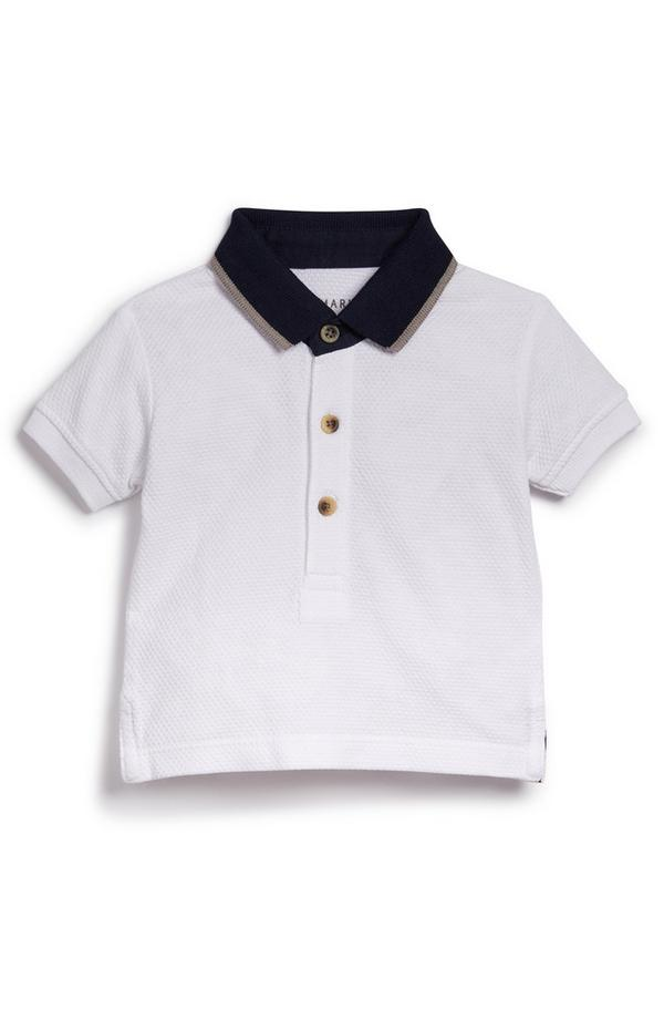 T-shirt blanc habillé à col polo bébé garçon